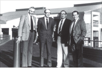 Original Members of Dean's Office | 1981. L-R. Dr. William M. Adams, Associate Dean for Services; Dr. Terrence M. Curtin, Dean; Dr. C. Edward Stevens, Associate Dean for Research & Graduate Studies; Dr. Donald R. Howard, Associate Dean for Academic Affairs.
