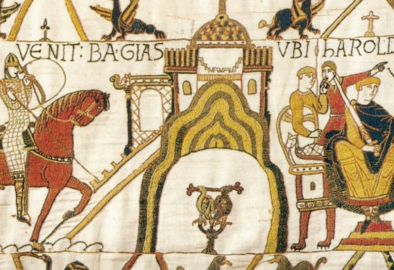 closeup of the original bayeux tapestry