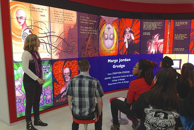 "Students' ""Creation Stories"" work displayed on Hunt Library's video walls."