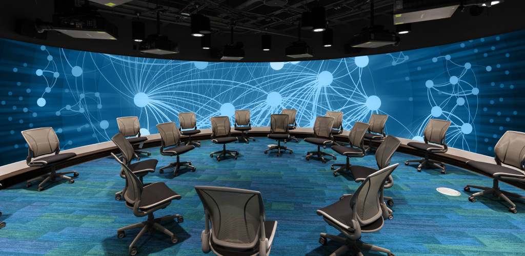 The Visualization Studio offers true seamless 360-degree projection and flexible seating.