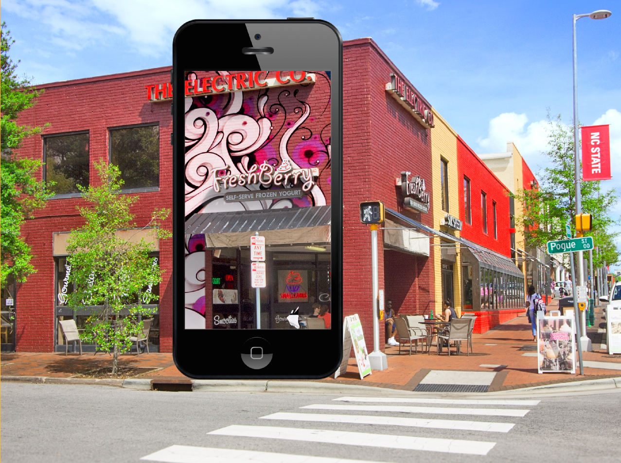 Picture showing an augmented reality overlay of graffiti on a building on Hillsborough Street
