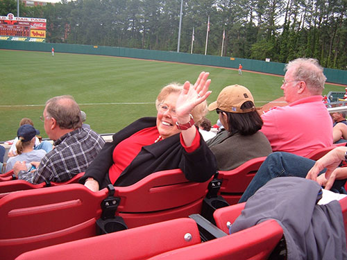 Susan at an NC State baseball game