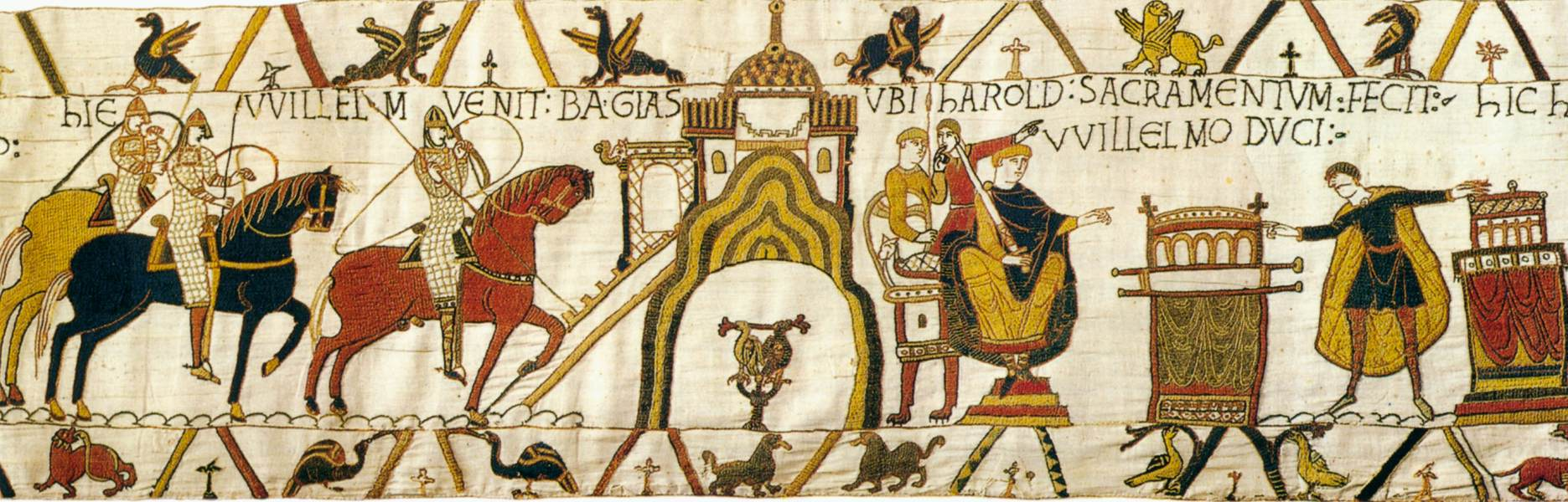This scene depicts Duke William's arrival at Bayeux.