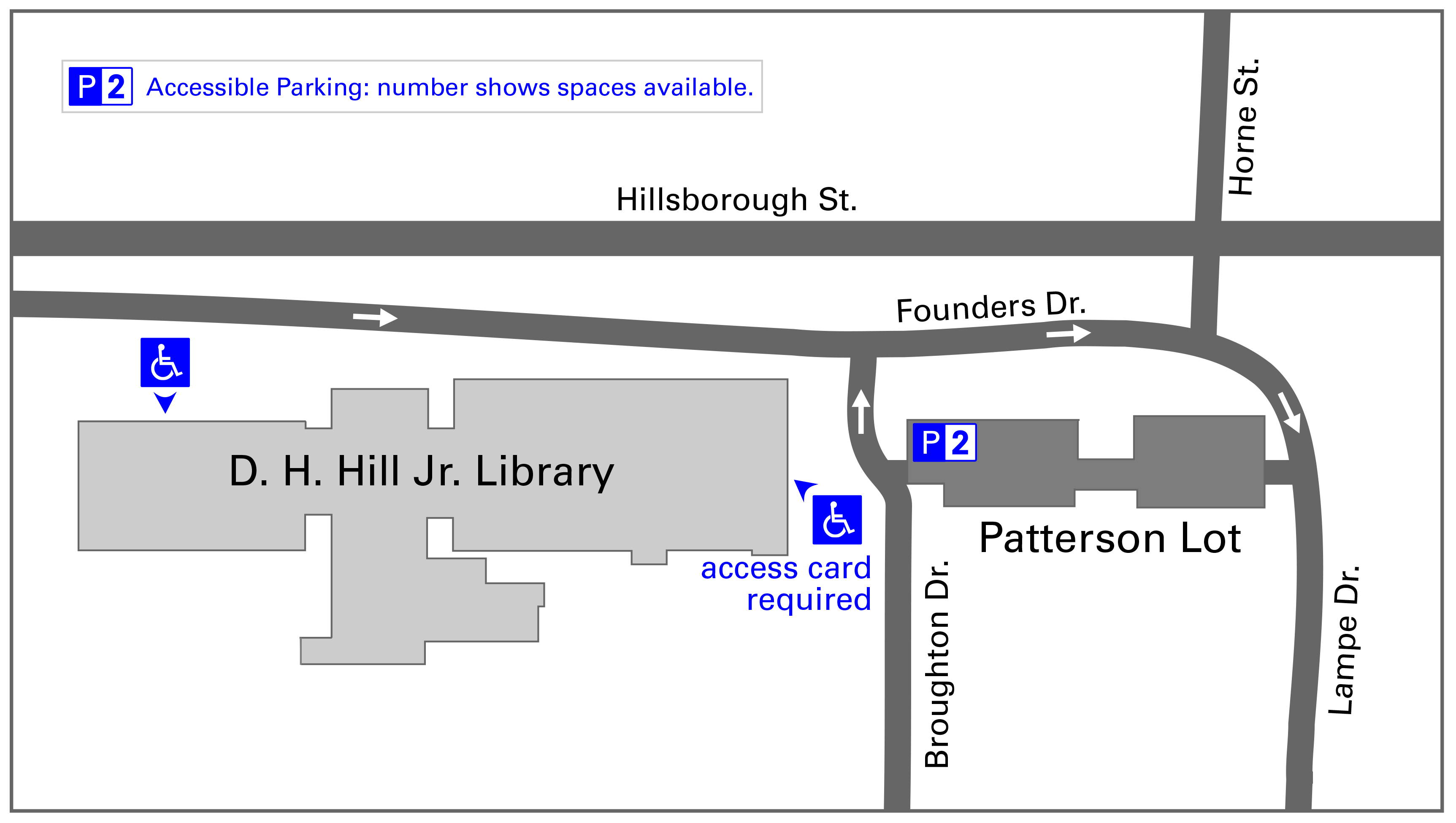 Map of accessible parking at Hill Library