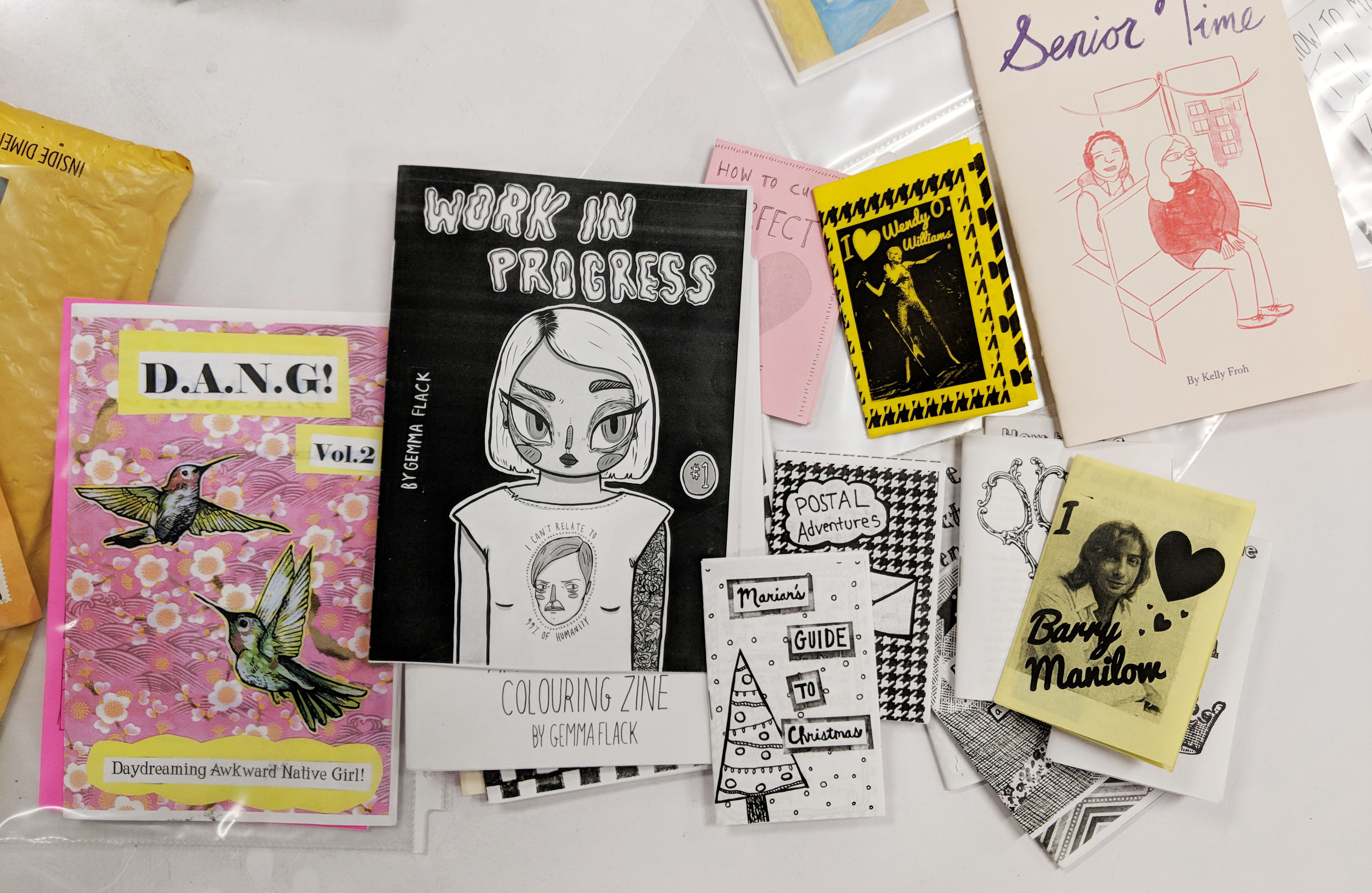 Zines made by participants of the workshop