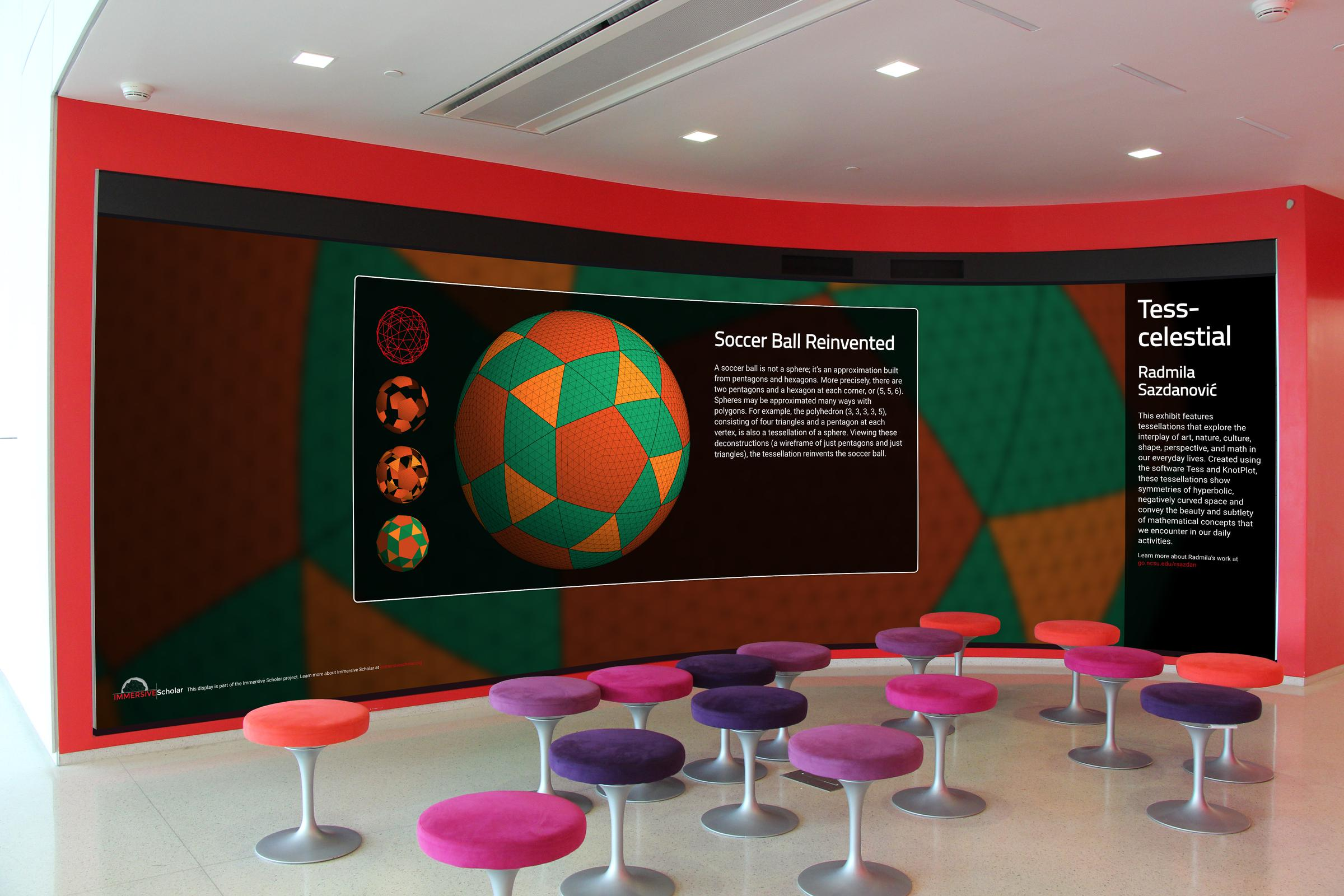 Immersion Theater screen displaying a geometric graphic labeled Soccer Ball Reinvented