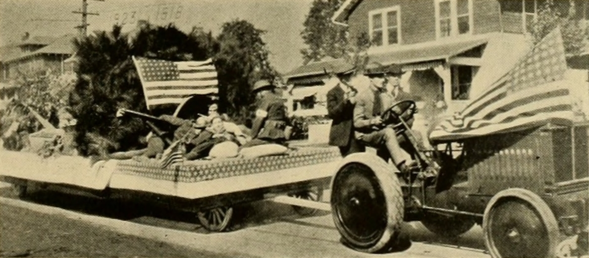 Rehabilitation student float in the NC State College Agriculture Parade, Oct. 1924.  After World War I, the college trained and educated hundreds of disabled veterans.  Photo from 1925 Agromeck yearbook.