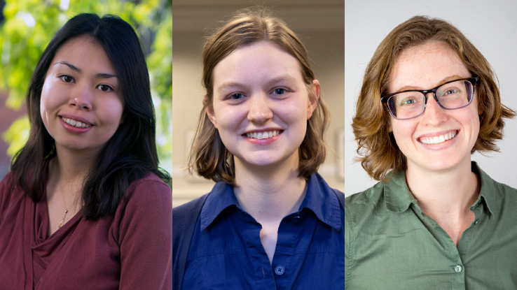2020-2022 class of NCSU Libraries Fellows: Shelly Black, Claire Calhoon, and Katherine Frazier