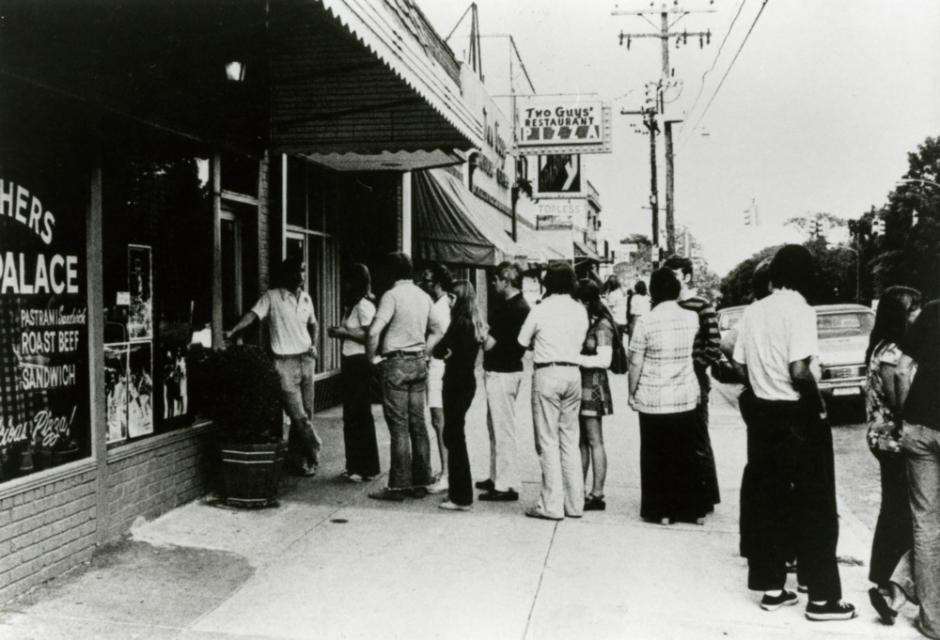 Line in front of Brother's Pizza Palace on Hillsborough Street, 1975
