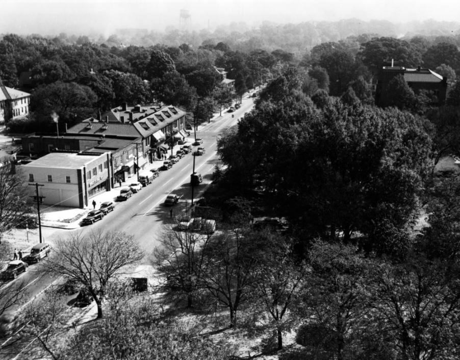 Aerial View of Hillsborough Street, 1940s