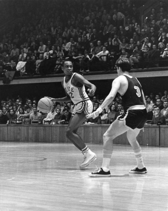 Al Heartley (No. 32), ca. 1970.  Heartley was the first African American captain of NC State's men's basketball team.
