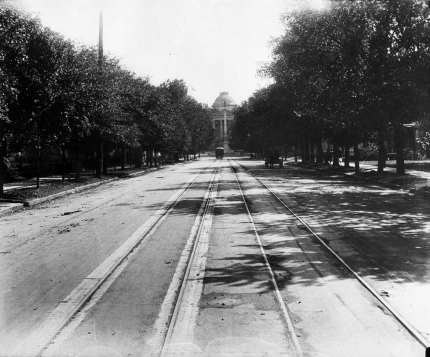 Trolley traveling on Hillsborough Street towards the State Capitol, 1910s