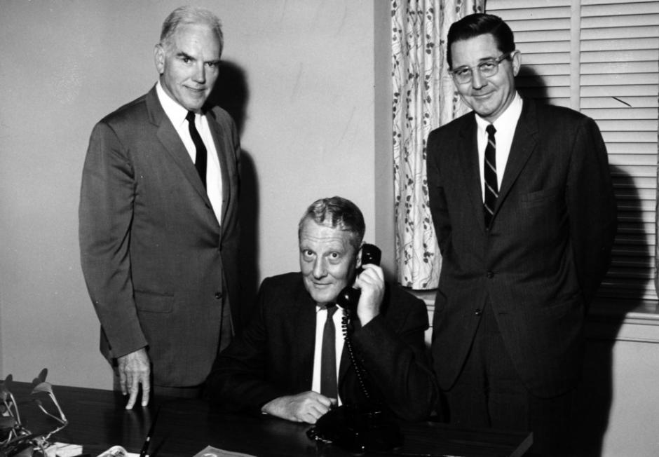Stanley G. Stephens (center), with Chancellor John Caldwell (left) and President Bill Friday (right), at the time he was elected to the National Academy of Sciences