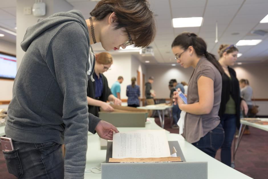 Students viewing Special Collections materials