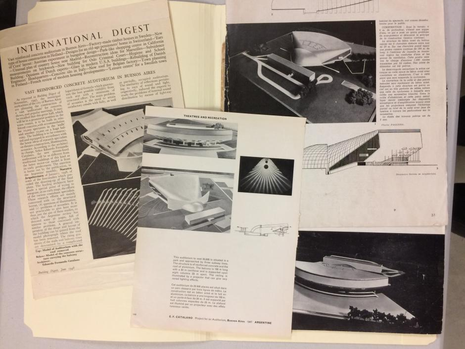 Publications highlighting Catalano's design of the Auditorium of Buenos Aires in Argentina