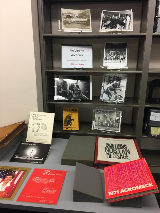 Selections from University Archives on display.