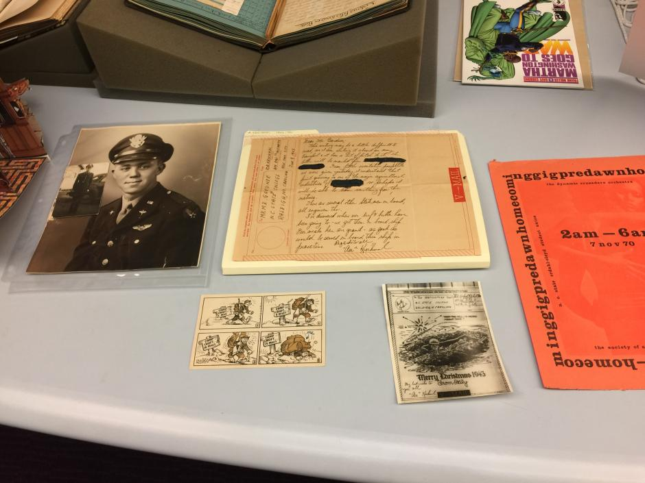 A sampling of popular collection items used in outreach and classes included archival materials reflecting the student experience during World War II.