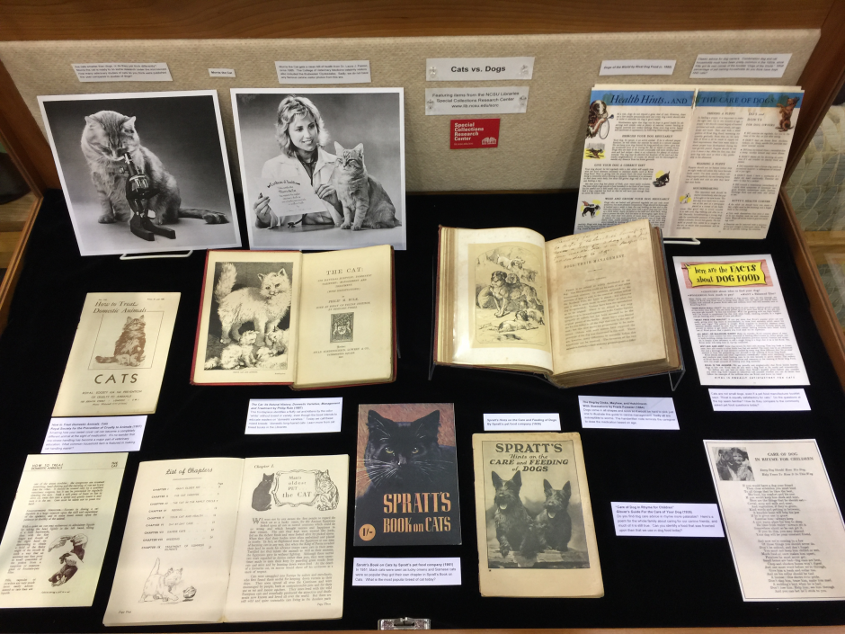 Special collections items on display in the Kenan Library of Veterinary Medicine.