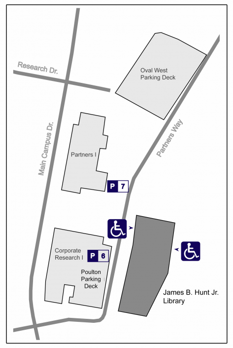 Accessible parking and entry at the Hunt Library