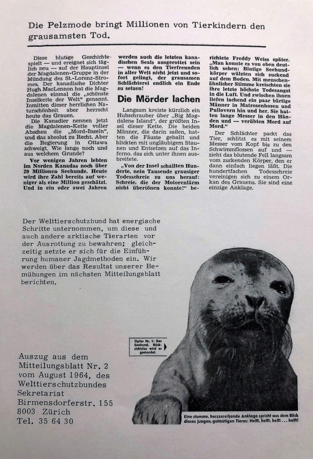World Animal Protection League Handbill (German), 1964, from the Wim Dekok Animal Rights Collection (MC 566)