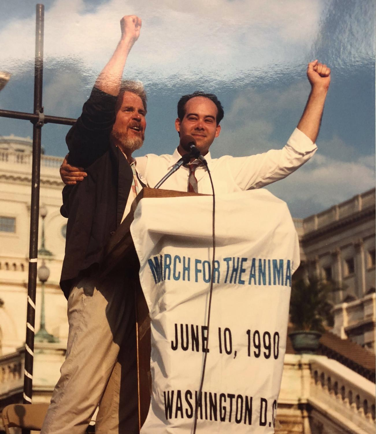 Tom Regan (left) with Don Barnes (right, National Anti-Vivisection Society Director) at March for the Animals, 1990