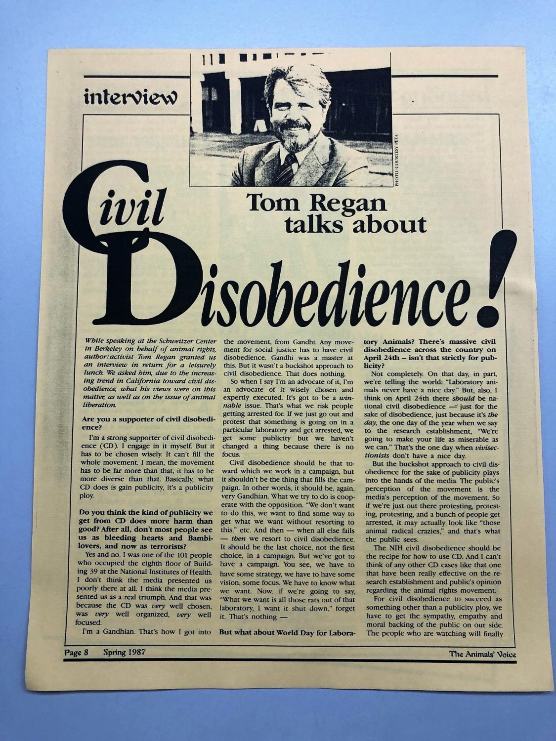 Tom Regan interview in the Animals' Voice, 1987
