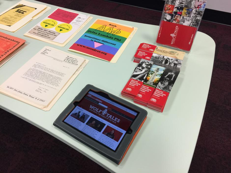 Also on display were items from historically under-represented student groups, which are used in outreach to help raise awareness of the value of preserving the legacy of these groups by contributing records to the archives and by sharing stories through the Wolf Tales mobile oral history program.