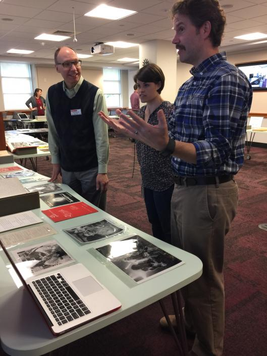 University Archivist Todd Kosmerick and Library Technician Cathy Dorin-Black selected items from the University Archives to share with colleagues, including Preservation Librarians Jamie Bradway and Emily Schmidt.