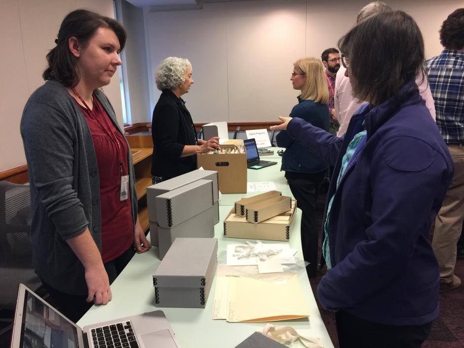 Head of Technical Services Linda Sellars and Library Associate Taylor de Klerk highlighted the work that goes on behind the scenes to arrange and describe collections, as well as showing the spaces and materials that we use to process and store materials.