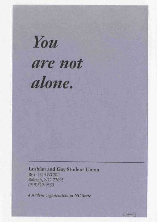 """You are not alone,"" Lesbian and Gay Student Union pamphlet, 1990."