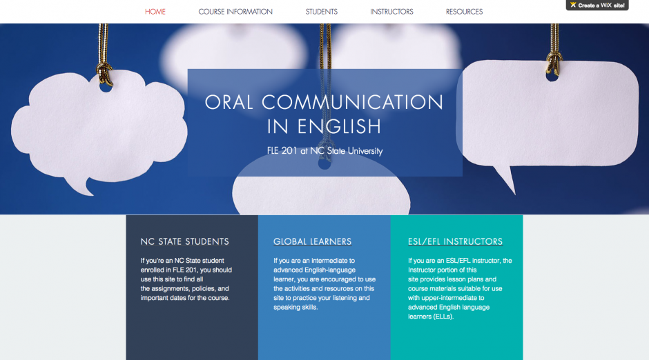 Oral Communication in English for International Students Site
