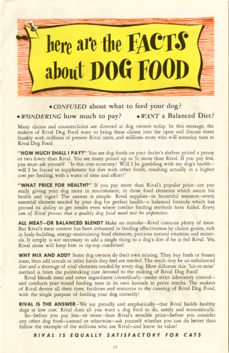 "Facts about dog food, in ""Dogs of the World"" by Rival Dog Food (c. 1950)"