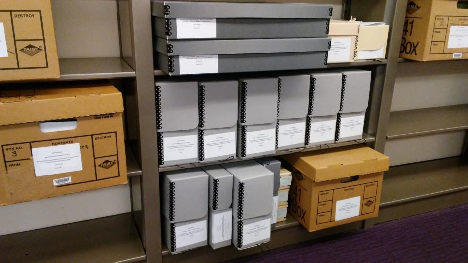 The Women's Center Records housed in various archival boxes