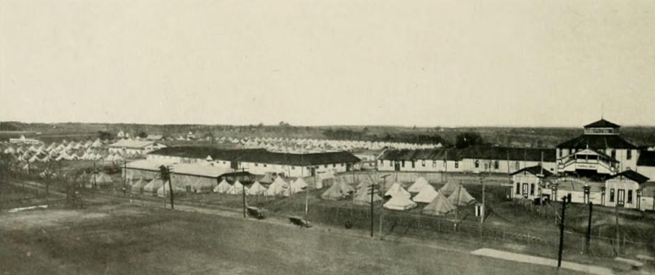 View of temporary camp at Camp Polk.  This view is probably from Patterson Hall on the NC State campus.  (photo from 1919 Agromeck)