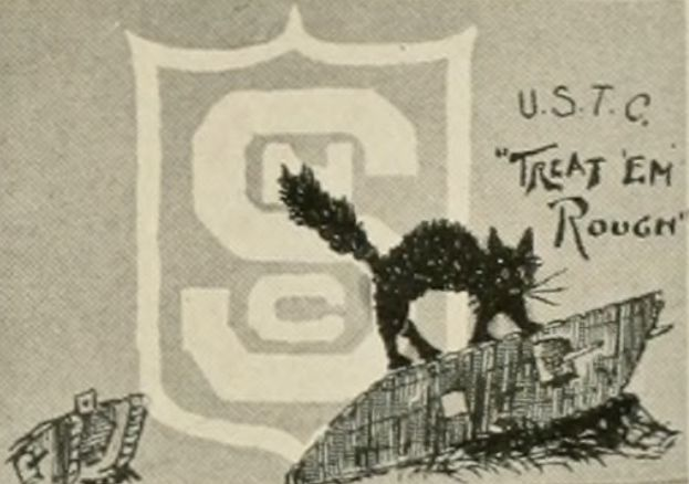 Tank Corps mascot and slogan with NC State logo (from the 1919 Agromeck)
