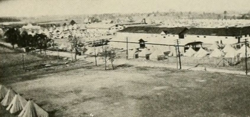 Another view of the temporary camp at Camp Polk.  The military tents in the lower left were on the NC State campus. (photo from the 1919 Agromeck)