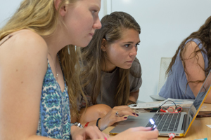 Courtney King and Kaitlyn Sullivan participate in the wearables workshop.