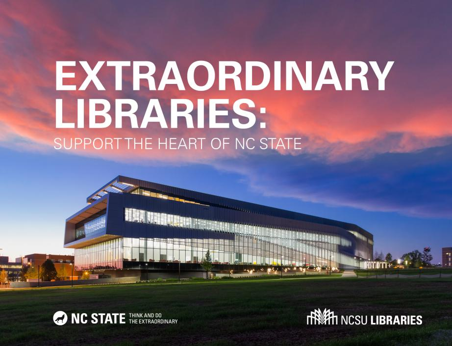 Hunt Library at dusk. Extraordinary Libraries support the heart of NC State
