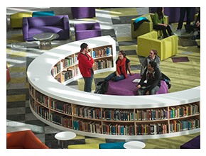 Hunt library circle bookshelf people