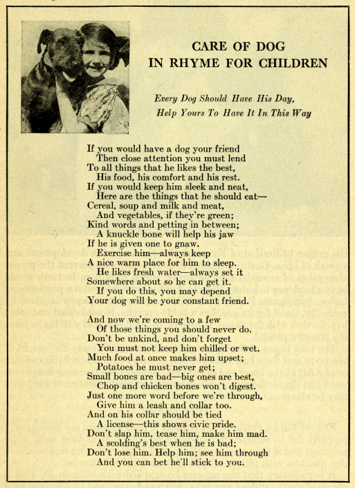 """Care of Dog in Rhyme for Children,"" in Glover's Guide For the Care of Your Dog (1935)"