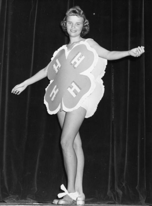 4-H Club girl performing at 4-H Achievement Day, 1960