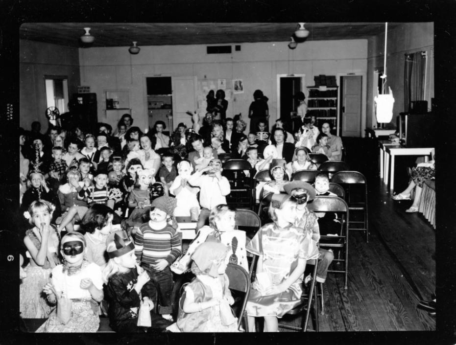 Halloween Party for children residents at NC State's Vetville, 1953