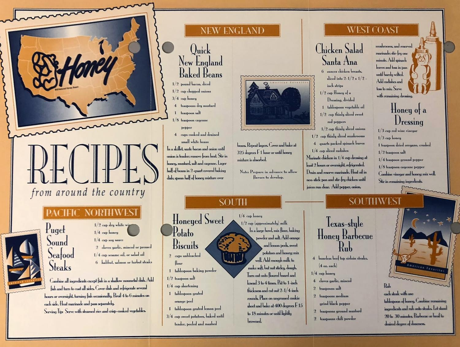 "This pamphlet was distributed in 1995 to members of the Honey National Board, and it includes recipe favorites ""from around the country."""