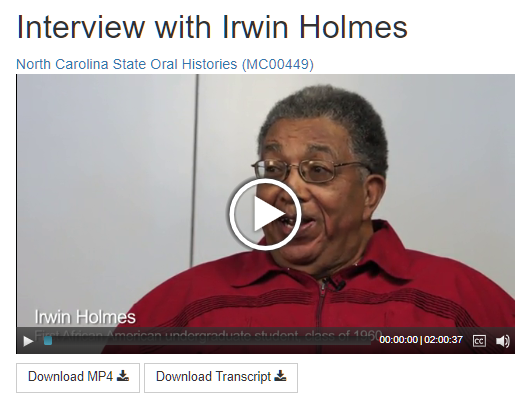 Video oral history interview with Irwin Holmes, recorded by Special Collections Research Center staff in 2014.