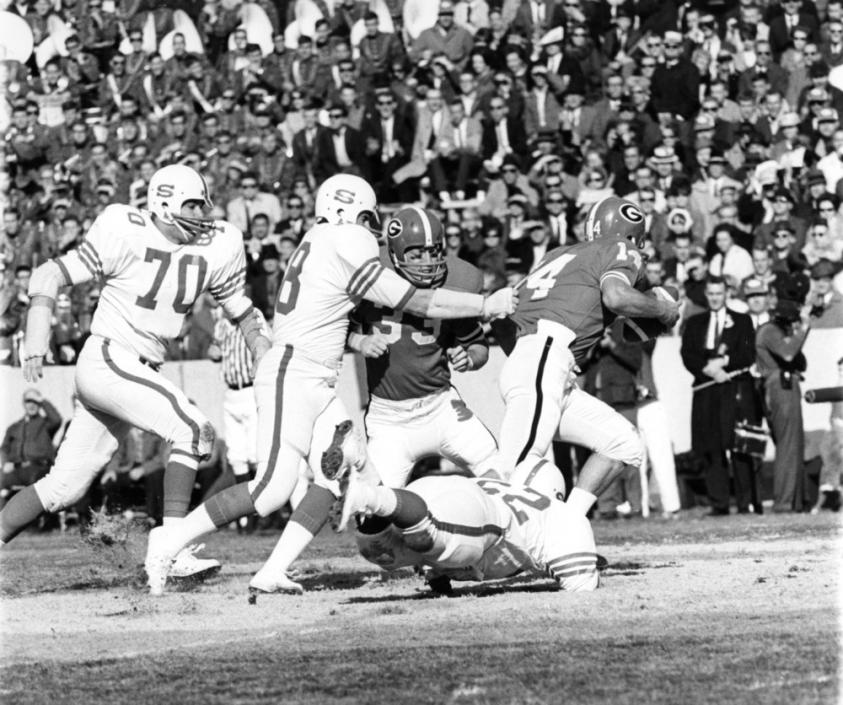 "NC State's ""White Shoes"" defense in the 1967 Liberty Bowl."