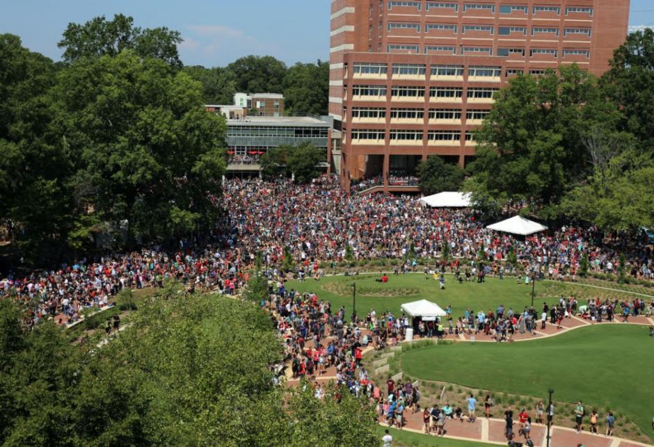 Crowd on the Brickyard for the Solar Eclipse, August 2017 (photo by Ed Funkhouser).