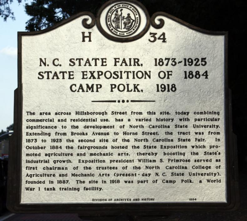 Historic Marker on Hillsborough Street about N. C. State Fair