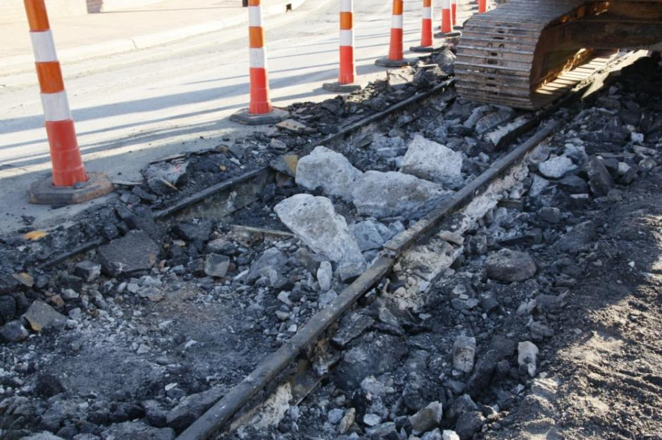 Trolley track unearthed during Hillsborough Street roundabout construction, 2010