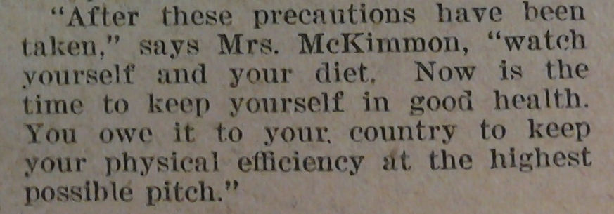 Jane McKimmon admonished readers to protect themselves against the flu in 1918