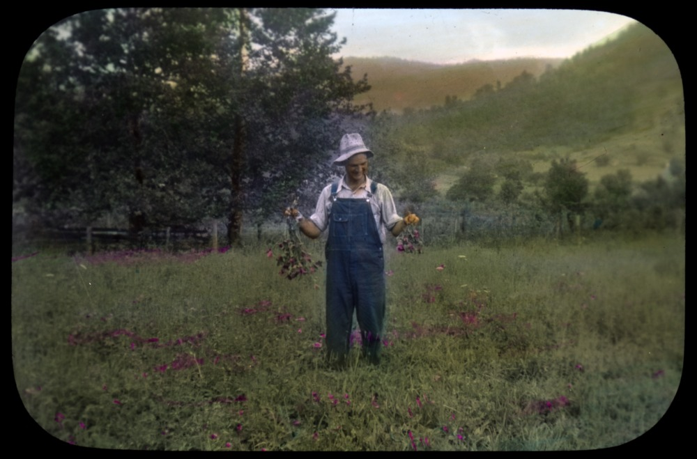 """Man with flowers in field in the mountains"""